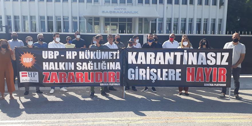 Sendikal Platform'dan pankartlı protesto